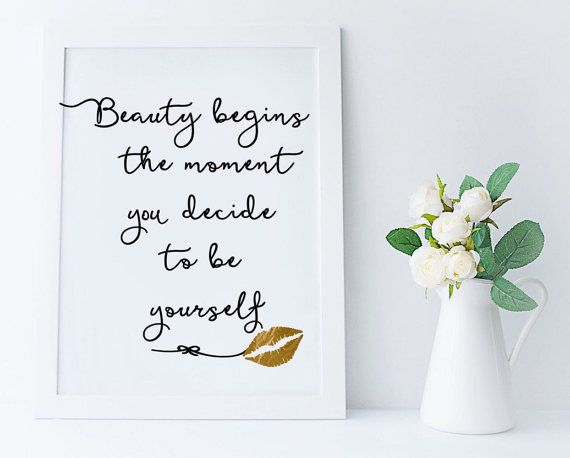 Beauty begins lip boss quote, faux gold foil wall art, inspirational print, typography quote, fashion typography print, Coco Chanel gold art