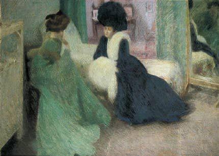 Innocenti, Camillo, (1871-1961), La Visita, 1908, Oil