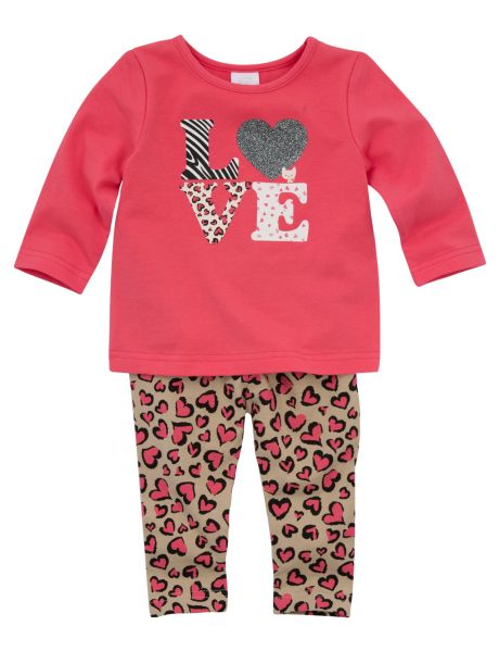 Cute and comfy, this two-piece set includes a long-sleeved tee and full-length leggings. The top has a 'Love' print with glitter detail, while the leggings have an all-over heart print with an elasticated waistband. #newandnow