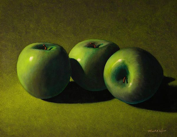 """Green Apples on a green background.... did I succeed? You be the judge!  This painting has a smooth surface with no discernible brush strokes. The painting was built up with multiple layers of thin transparent oil colors over a care drawing in charcoal. This labor intensive, """"Old Masters"""" technique gives a beautiful and soft luminosity to the painting that would be difficult, if not impossible to achieve by other painting techniques. Prints available!"""