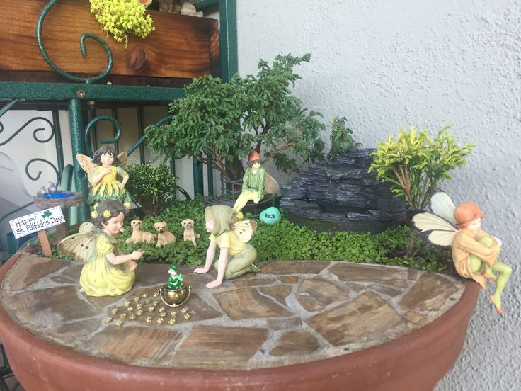 Miniature Fairy Garden   FOUNTAIN OF FAIRIES Has Two Scenes; A Shale Water  Fountain With