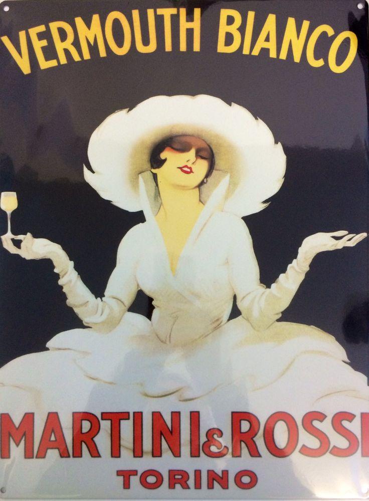 plaque en métal apéritif martini vermouth bianco, rossi, torino