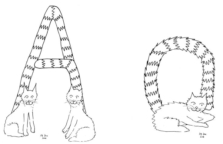 Letter A Cats Tails #colouringInAsTherapy black n white monochrome - Digital Download .jpeg .jpg by MrSquimpsCatShop on Etsy