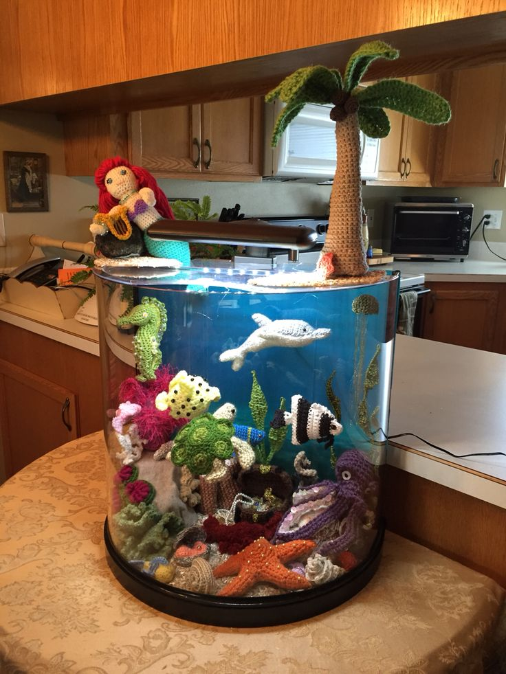 My sister crocheted a whole fish tank. The tank is a real tank filled with and topped with crocheted items. Amazing!!!