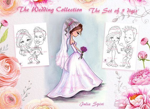 Wedding stamps Set of 5 Digital Stamps Wedding day by JuliaSpiri