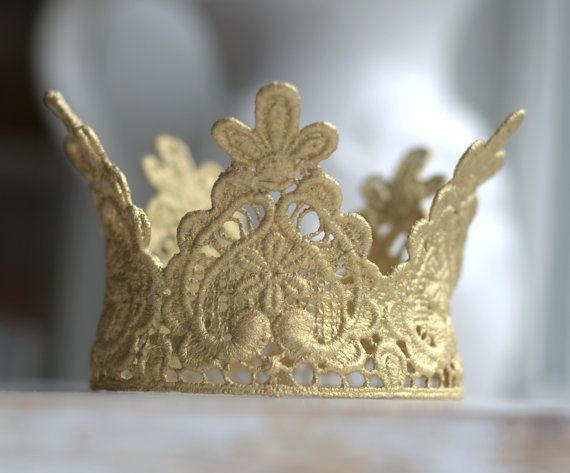 Newborn Lace Crown.  Childs Lace Crown. Baby Lace Crown. Gold Lace Crown. Large Lace Crown. Gold Crown. Crowns. Photography Prop. UK SELLER