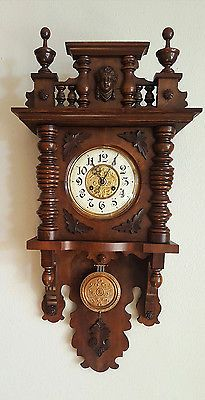 GORGEOUS ANTIQUE GERMAN KIENZLE WALNUT BROWN WALL CLOCK at 1900 !!