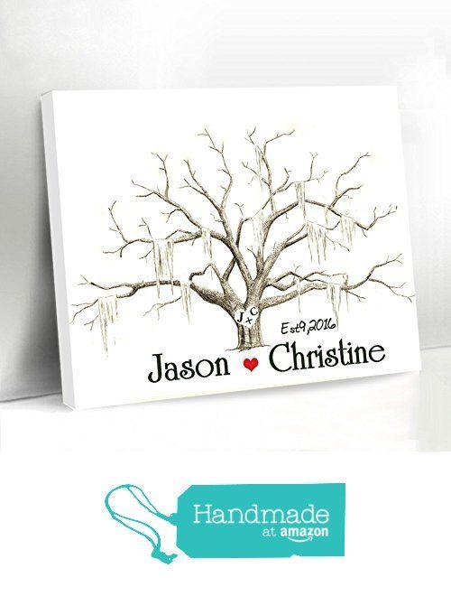 Thumbprint Tree Guest Book Personalized Wedding Guest Book Alternative Canvas Fingerprint Tree Keepsake Personalized Bride and Groom Name and Date from weddingdeco https://www.amazon.com/dp/B01KXPALOG/ref=hnd_sw_r_pi_awdo_gC6VybX6XZYH6 #handmadeatamazon