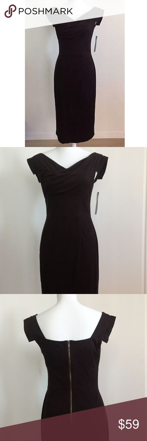 "Maggy-London-Brown-Sheath-Cocktail-Dress-S:4 Maggy London Dark Brown Sheath Cocktail Dress Size:4 $138 100% Polyester, Dry clean. Imported.  Hidden zipper. Fully lined. Length: 42"". Waist: 14"" Flat Across Brand New With Tag. Maggy London Dresses Midi"