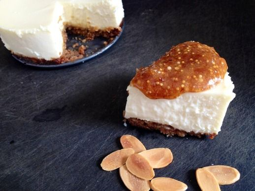 Goat Cheese Cheesecake with Fig Jam. (Might need to double this recipe ...