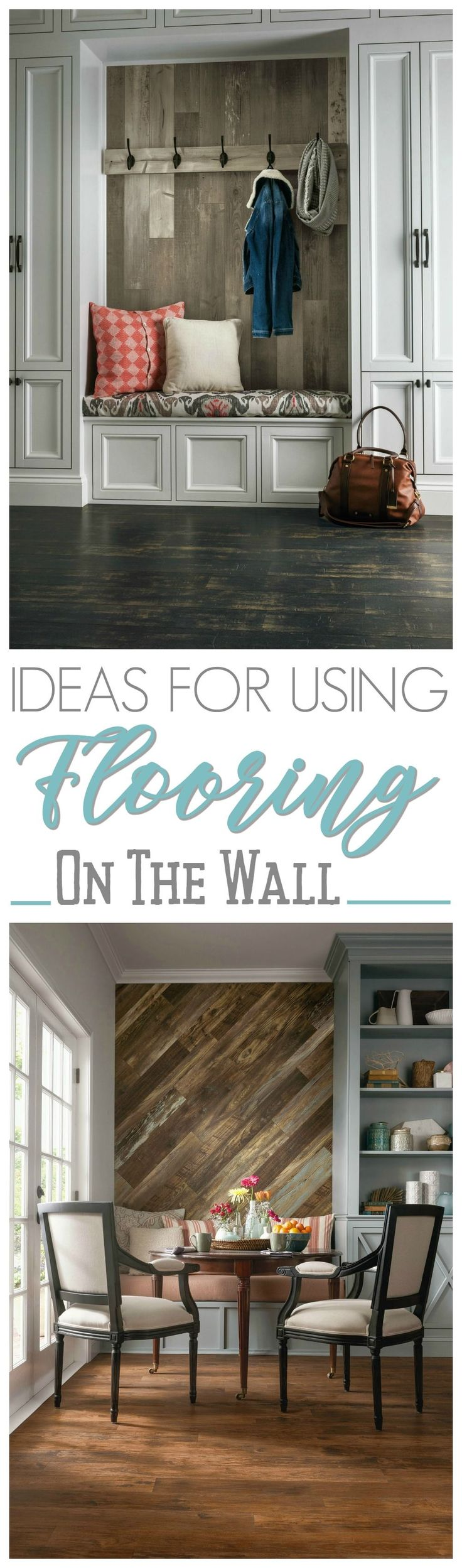 Wood Feature Accent Wall Ideas Using Flooring - From farmhouse mud rooms to kitchens... and even used as headboards... there are so many amazing ways to add texture and interest with flooring, that you won't be walking on!