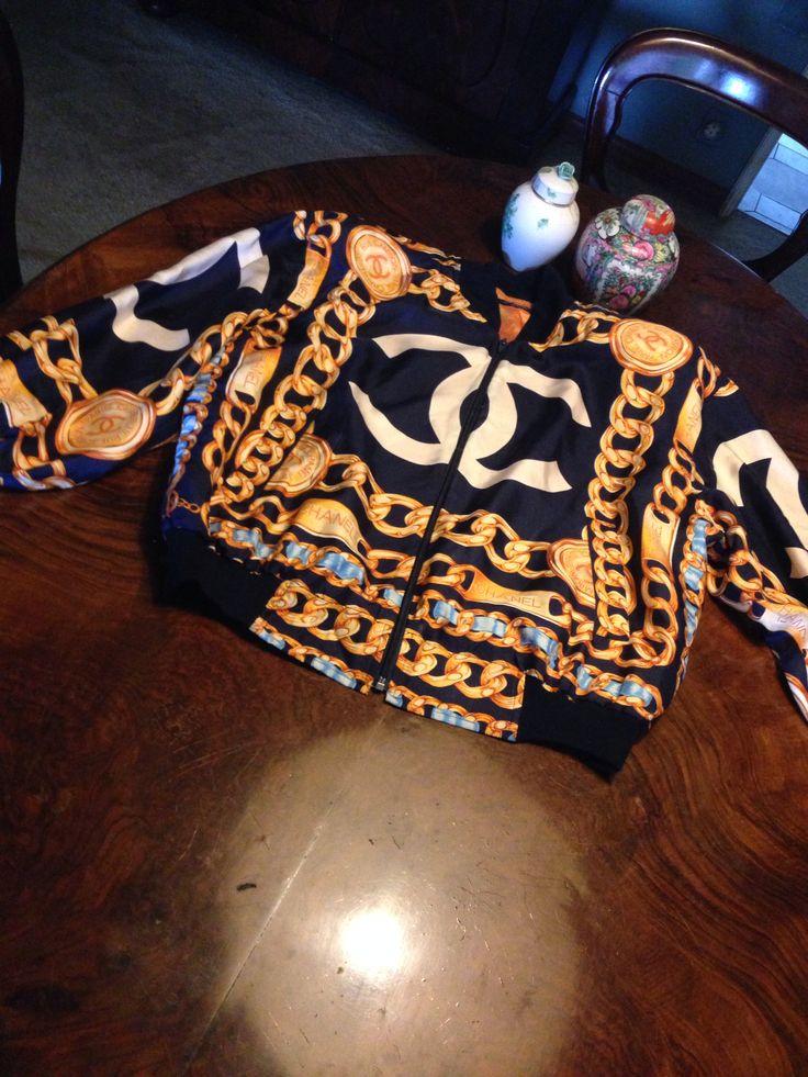 #Chanel #chainprint silk bomber jacket