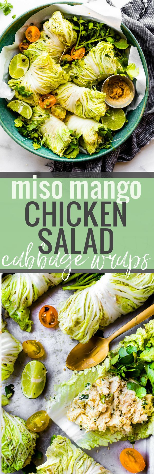 Miso Mango Chicken Salad Cabbage wraps are a light low carb lunch that's easy to make! A mango chicken salad that's mayo free, paleo friendly, flavorful! pread the miso mango chicken salad mixture over napa cabbage, add a little bit of watercress, then firmly roll up! www.cottercrunch.com