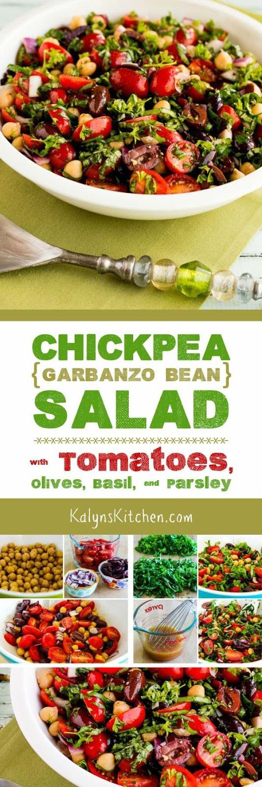 Chickpea (Garbanzo Bean) Salad with Tomatoes, Olives, Basil, and ...