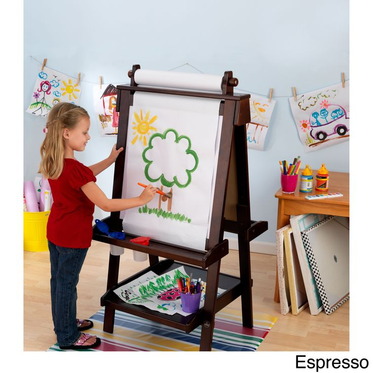 Creativity, functionality and style come together in KidKraft's Deluxe Wood Easel. With classic lines that will enhance any room or play setting, KidKraft's Deluxe Wood Easel will bring out your child