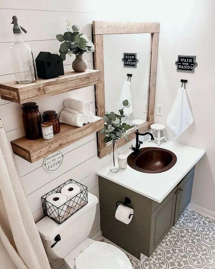 28+ Best Rustic Bathroom Decorating Ideas #rusticbathroom #bathroomdesign #bathr…