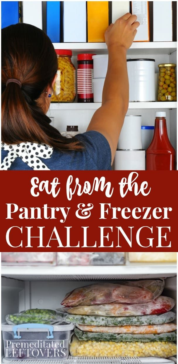 Use these tips to participate in an Eat from the Freezer and Pantry Challenge. This will help you save money on your grocery budget, prevent food waste, and clean out your pantry and freezer.