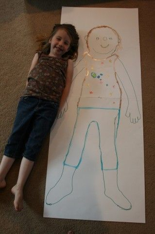 How fun! I want to do one for me too :) Trace your outline and decorate. Great with chalk on the driveway too.