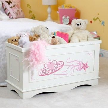 Classic Playtime Plum Garden Princess Toy Box - Vanilla traditional toy storage