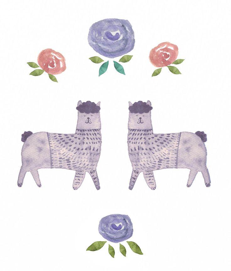 Jelena Matriszenka #watercolor #watercolorillustration #illustration #watercolorart #art #akwarele #creature #cute  #animal #artforkids #illustrationforkids #kids #floral #nature #lamas #flowers