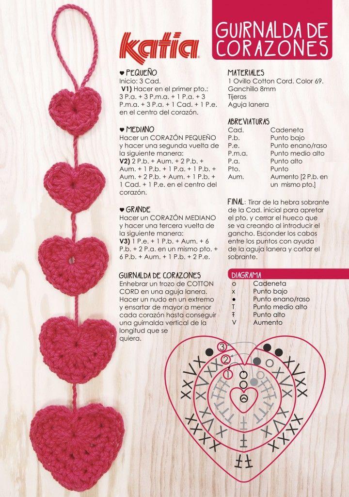 Crochet Garland Heart - Chart ❥ 4U // hf