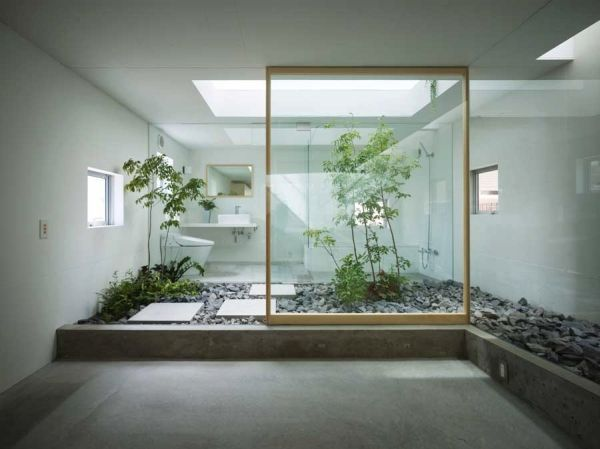 fantastic bathroom design japanese minimalist style natural stone plants glass wall