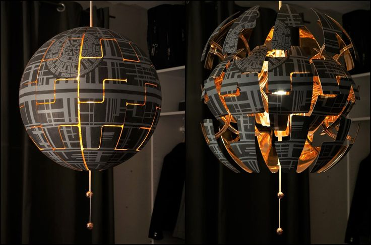 """Wow! This is so cool! Instructables user MariaK64 bought an IKEA PS 2014 pendant lamp and modified it so it could look like the Death Star. The """"Exploding"""" feature comes already built-i…"""