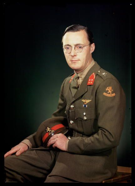 A Kodachrome colour photograph of Prince Bernhard of the Netherlands (1911-2004) taken by JCA Redhead (1886-1954) during World War Two. Prince Bernhard fled Holland for exile in Britain when the Germans overran his country in 1940. He is photographed here as a member of General Eisenhower's staff. He also served as a fighter pilot and in 1944 became commander of the Dutch armed forces.