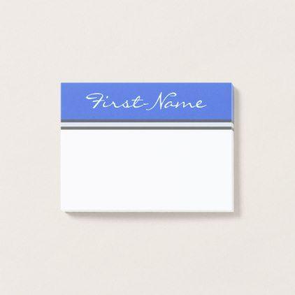Basic Royal Blue Background w/ Light Cyan Name Post-it Notes - plain gifts style diy cyo