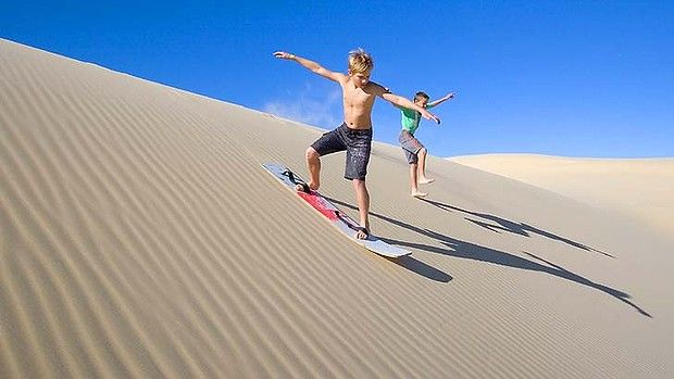 Get on board ... sandboarding on the Stockton dunes, Port Stephens. #Australia