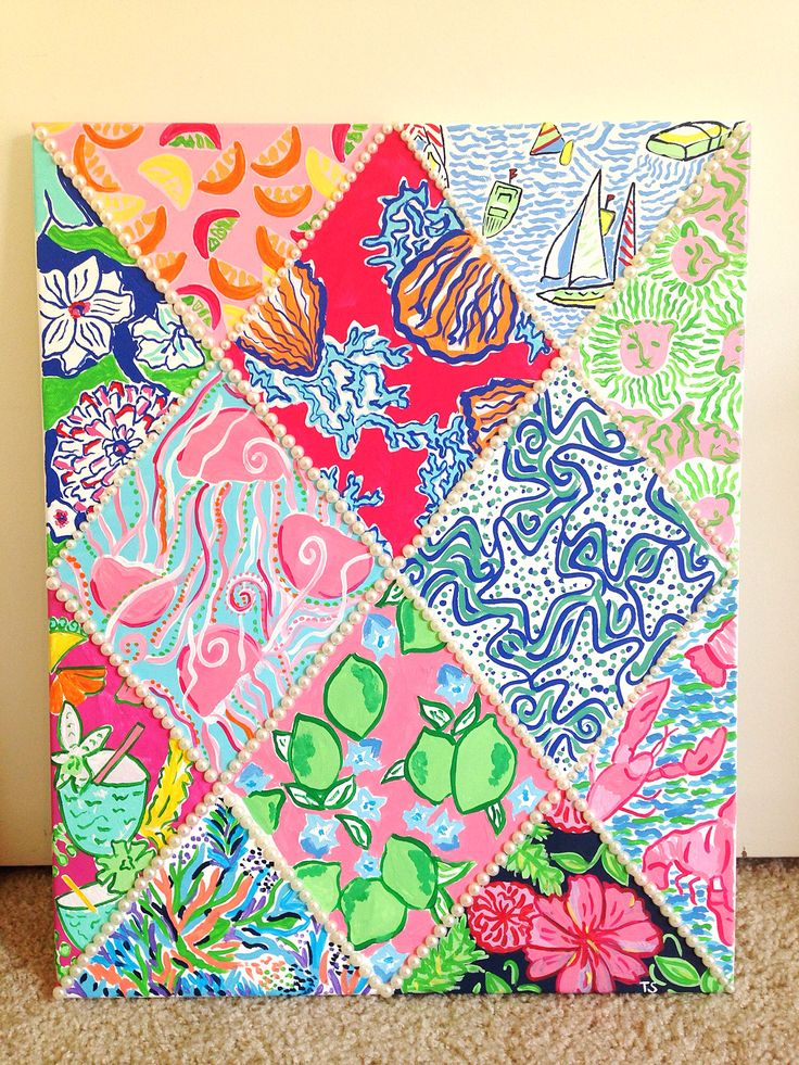 Lilly Pulitzer Inspired 12 Print Canvas With Pearls Sea