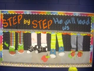 sunday school bulletin boards | Cute bulletin board! Could change shoes with the season and keep up ...