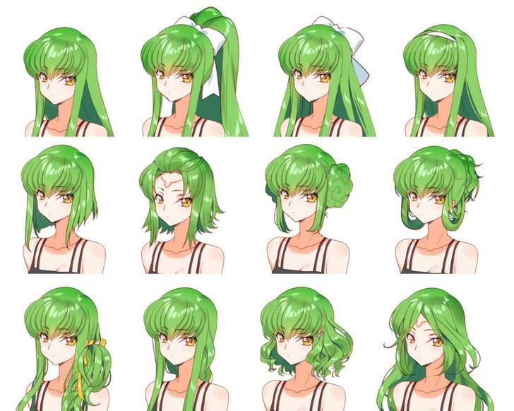 Creayus The Many Possible Hairstyles Of C C In 2020 Manga Hair Anime Hair How To Draw Hair