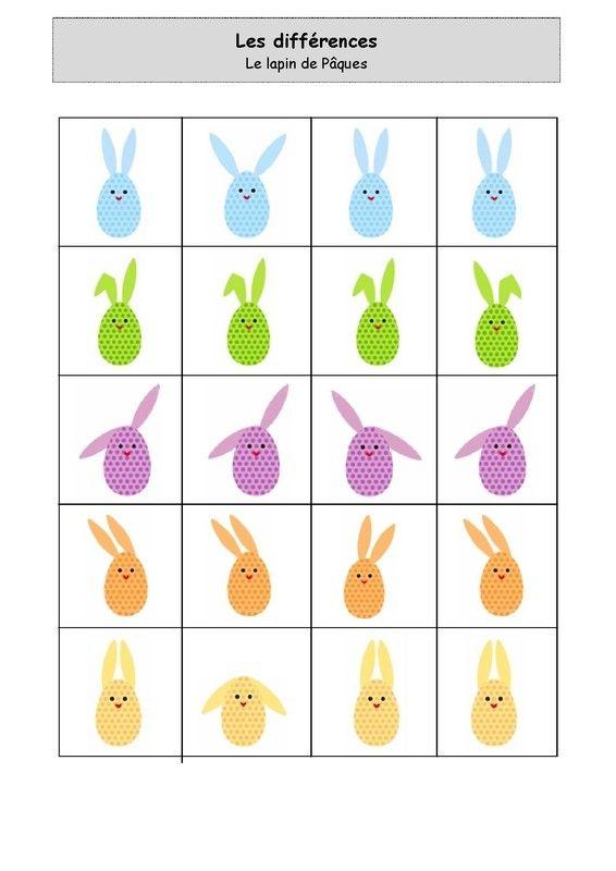 Les différences : Les lapins de Pâques