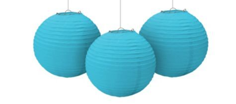Caribbean Blue Paper Lanterns 9 1/2in 3ct - Party City Canada