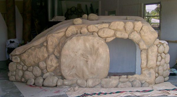 Making a Styrofoam Easter Tomb Prop