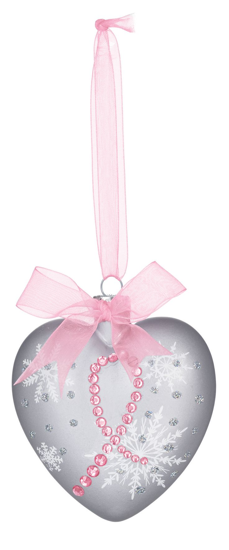 "A beautiful way to show your support. Glass ornament has a pink ribbon for hanging.   $1.00 will be donated to the Avon Foundation for Women Breast Cancer Crusade.   Approx. 4"" H x 3"" L."