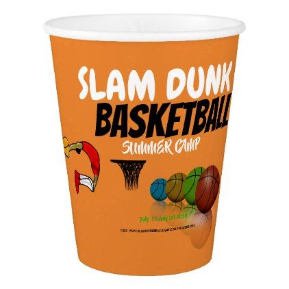 Basketball Summer Camp  9 oz Paper Cup - home gifts ideas decor special unique custom individual customized individualized