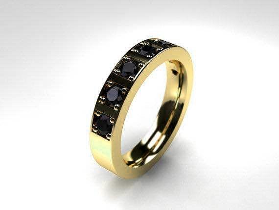 0.70ct Black Diamond Ring in Yellow Gold