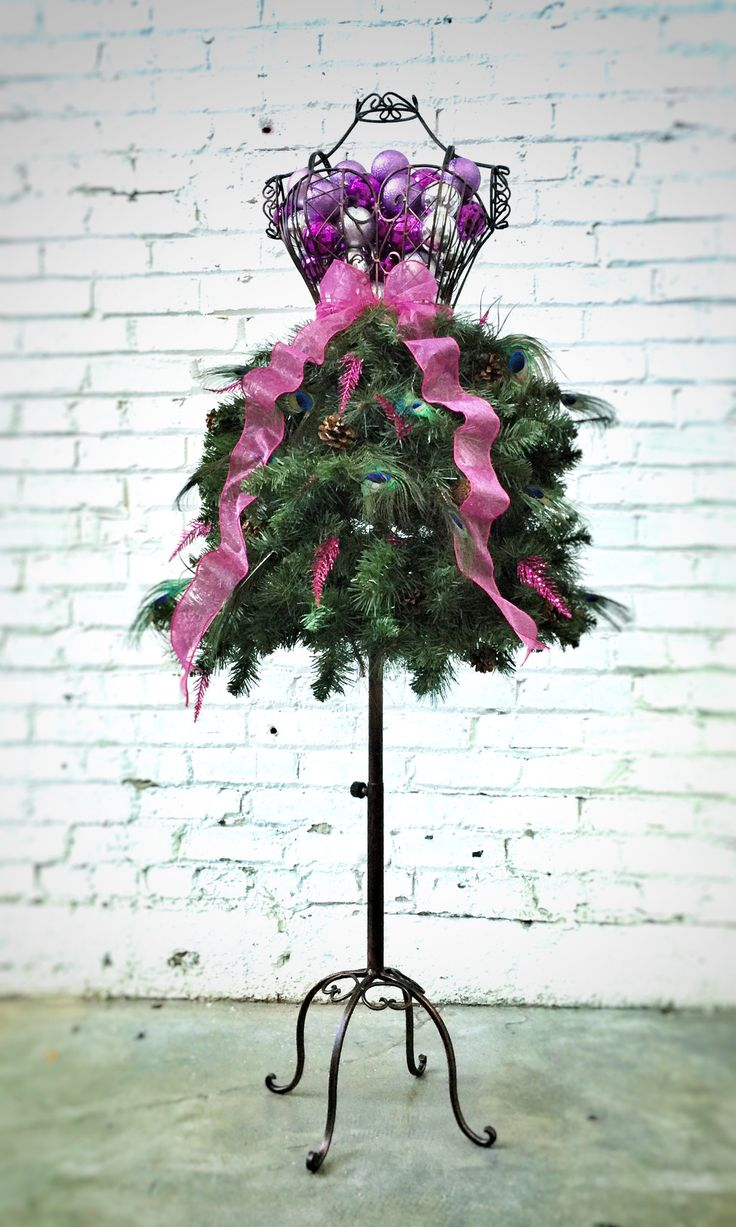 Christmas tree decorations purple silver - Custom Made Dress Form Christmas Tree Peacock Feathers Multi Color Ornaments