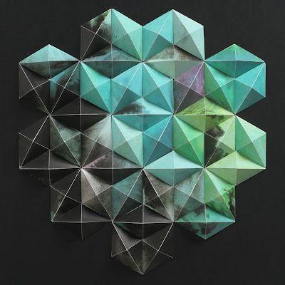 paper artwork . matt shlian: Colors Patterns, 3D Paper, Geometric Art, Matthew Shlian, Michael Cina, Graphics Design, Paper Sculpture, Paper Artworks, 3D Artworks