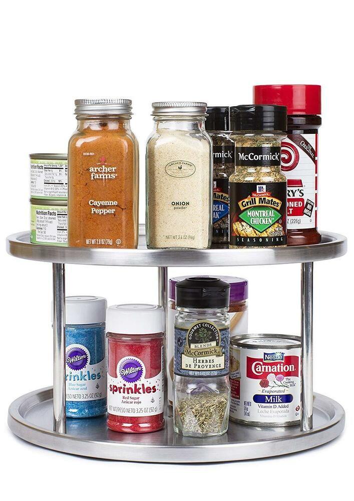 Small Spice Rack Countertop Organizer Kitchen Storage Shelf Free Standing Metal Ebay Lazy Susan Kitchen Organization Countertop Organization