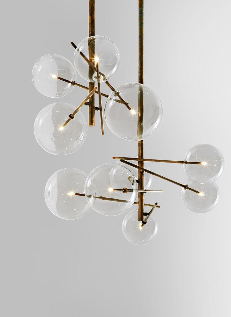 Pendellampe Mit Halogen Punktformiger Lichtquelle 20 Watt Geblasene Klar Glaskugel Metallteile