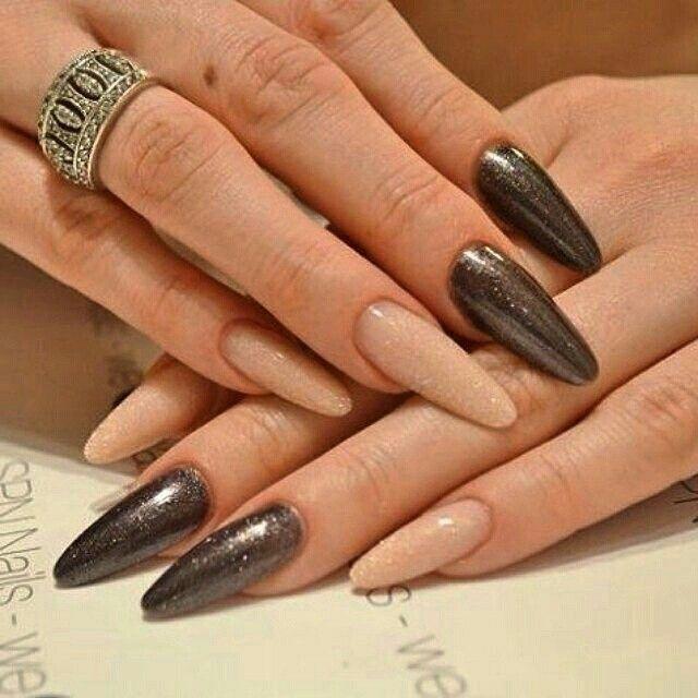 SPN Cover Bling Powder no1 & no2, UV LaQ 608 Black Diamond. Nails by Asia Diamentica #spn #spnnails #acrylic #powder #uvlaq #inspiracje #paznokcie #nails