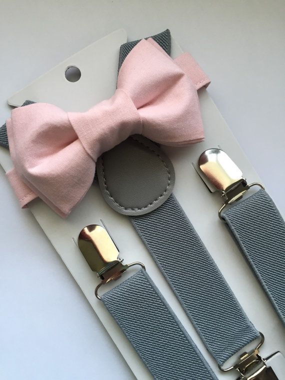 Boys Light Pink Bow Tie/Suspenders Set Light Grey by BoWagon