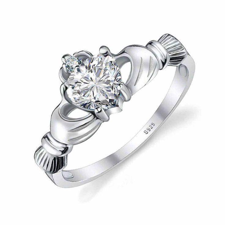 Sona Diamond Claddagh Ring
