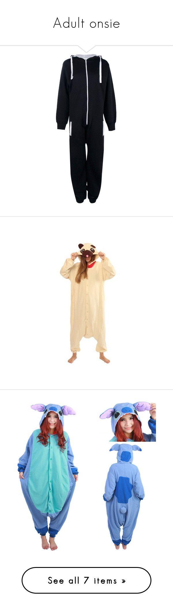 """Adult onsie"" by masmas21 ❤ liked on Polyvore featuring costumes, adult halloween costumes, adult costumes, kigurumi costume, stitch costume, role play costumes, adult stitch costume, intimates, sleepwear and pajamas"