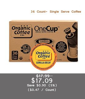 The Organic Coffee Co. OneCup, Gorilla DECAF, 36 Count- Single Serve Coffee, Compatible with Keurig K-cup Brewers, USDA Organic | Easy Buy