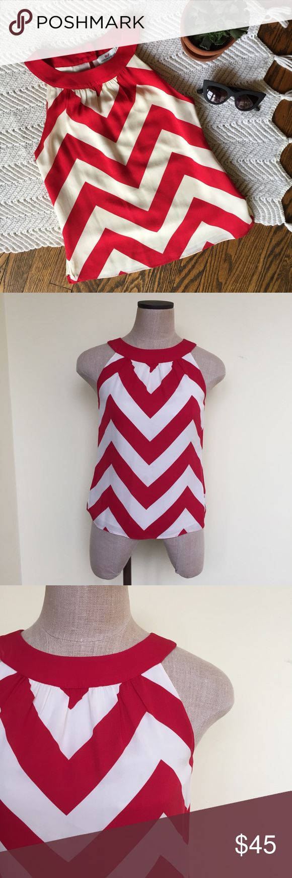 Vineyard Vines silk chevron top Super cute sleeveless top by Vineyard Vines. Red and white chevron pattern.  100% silk. In excellent condition. No flaws. Size 0. No trades. Vineyard Vines Tops