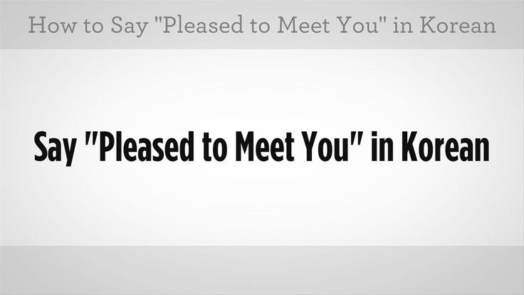 how to say nice to meet you in korean